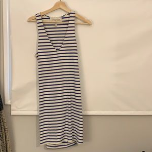 Blue and white stripe mini dress
